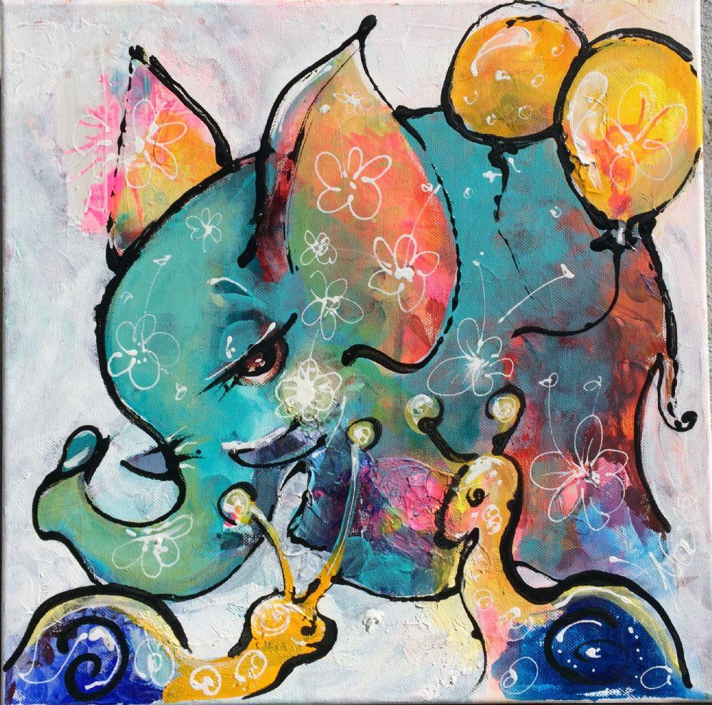 blå elefant | Maleri