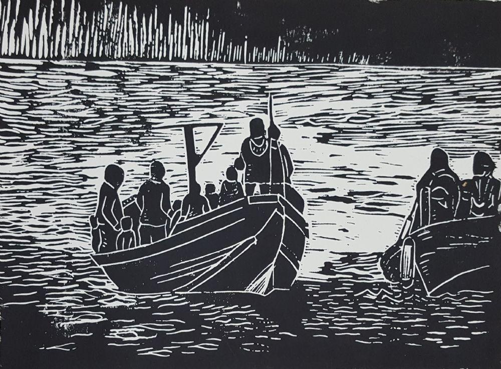 Linoleumssnit uden titel | Britta Ortiz