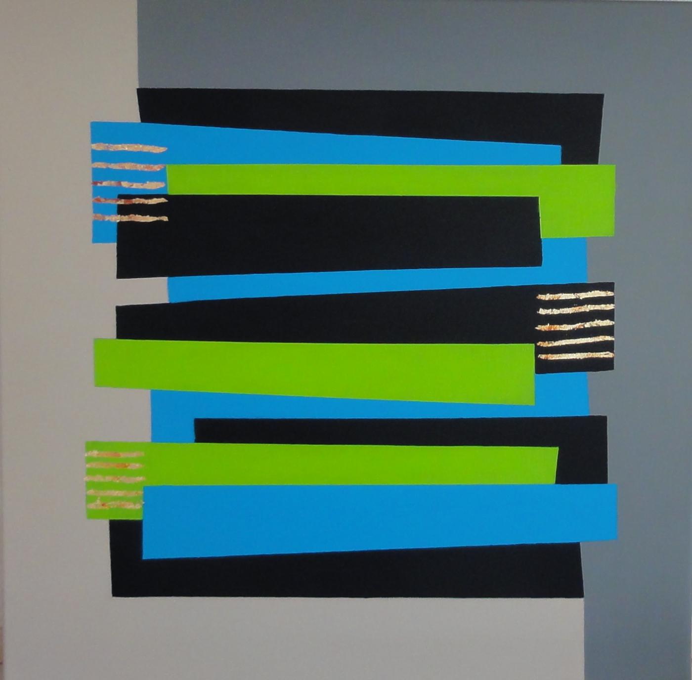 Constructive Art  - grøn blå stave   Maleri