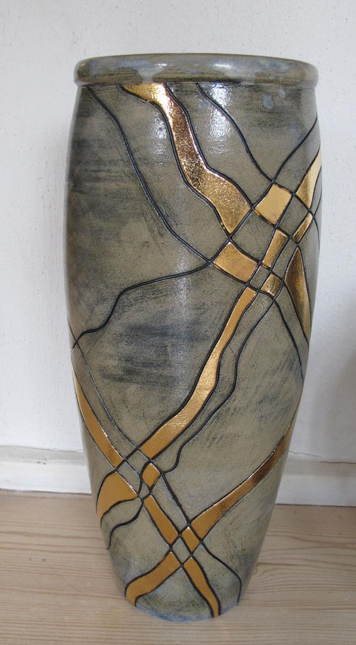 gulvvase m. guldstreger   Keramik