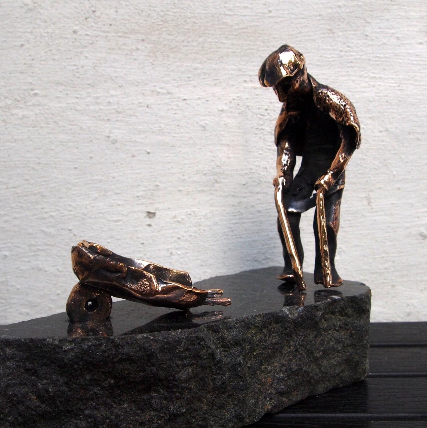 Den gamle mand og børen | Skulptur