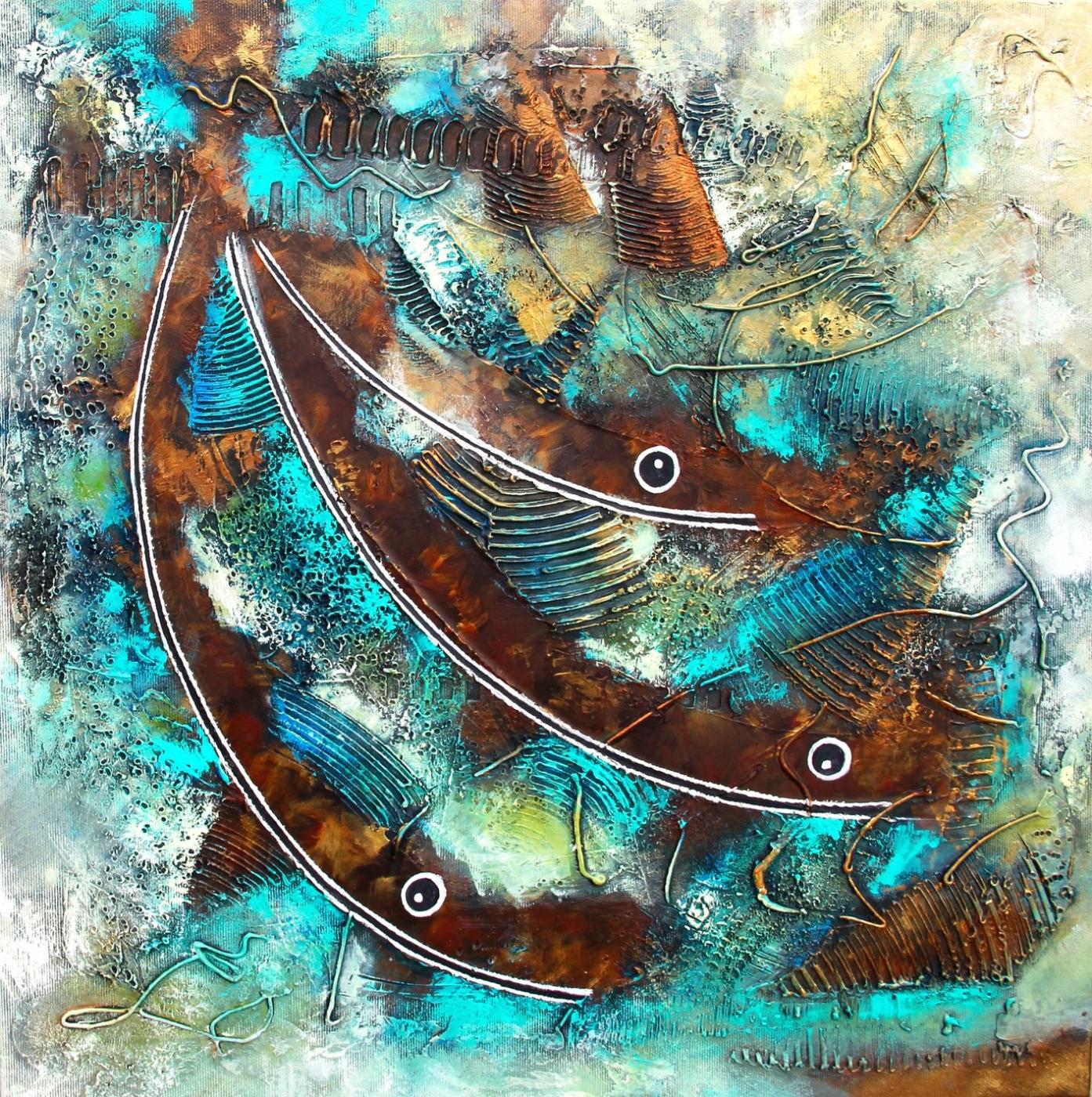 3 diving fish   Maleri