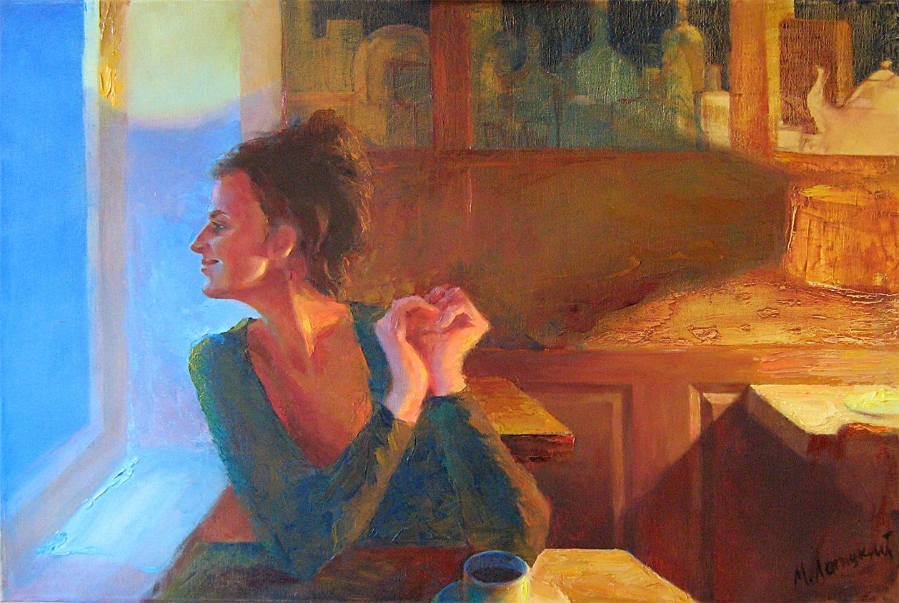I caféen. Helsingør.   Maleri