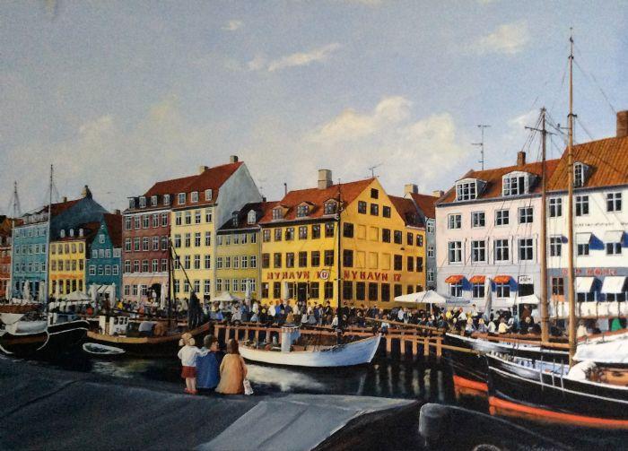 Familiehygge i Nyhavn | Maleri