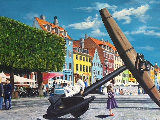 To søstre ved ankeret i Nyhavn | Maleri