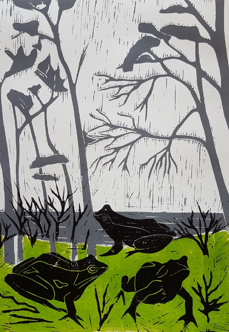 'Frøer i det grønne' | Maleri