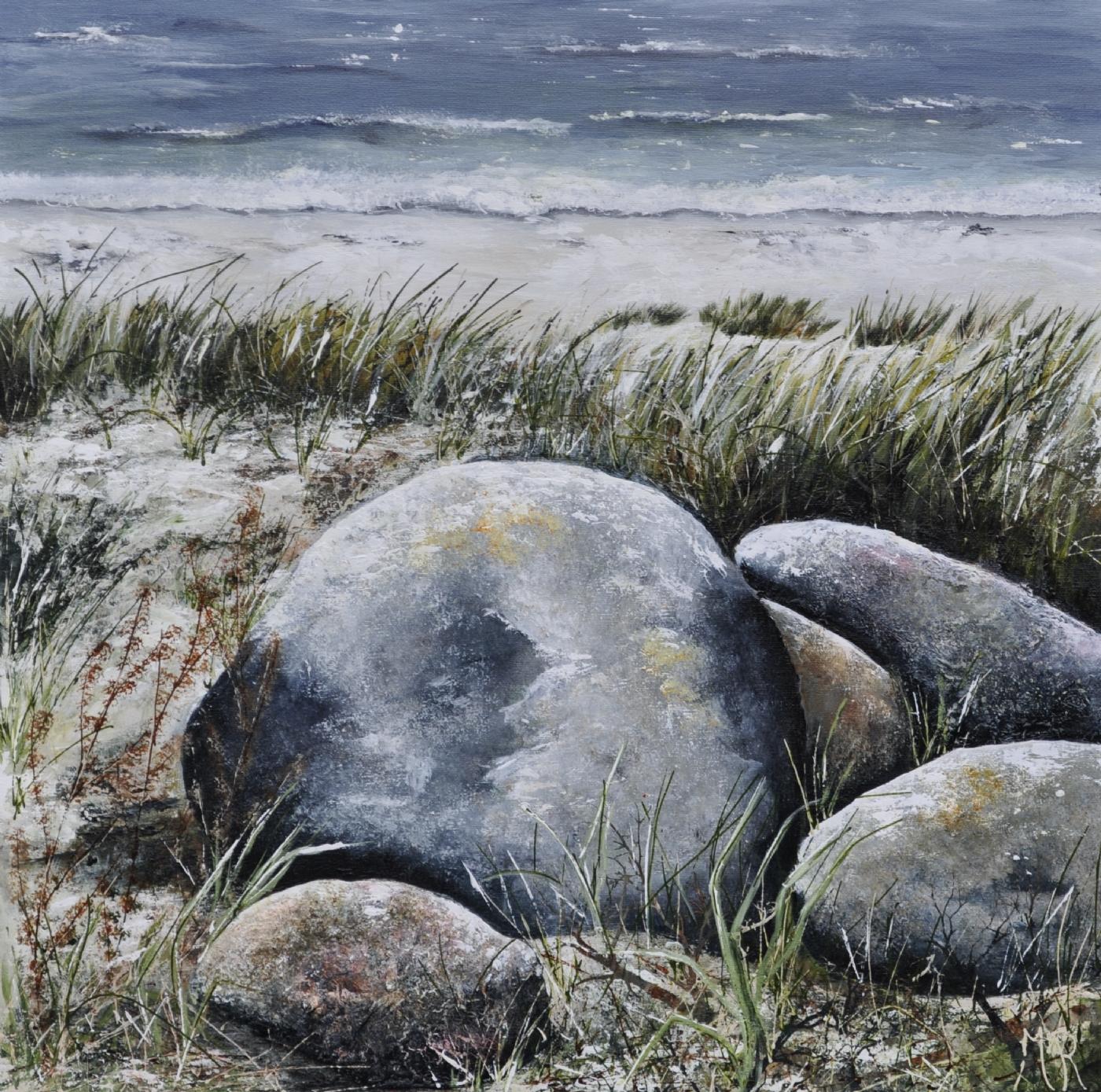 sten langs vandet nr 1 | Maleri