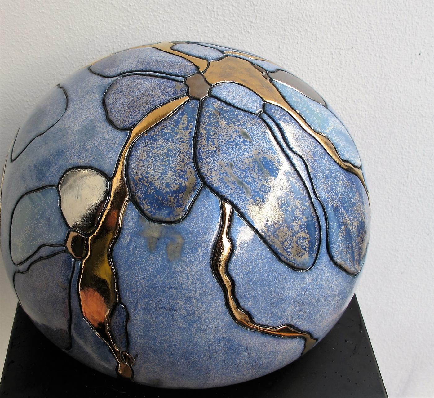 stor gobbel m. blomst og metal | Keramik
