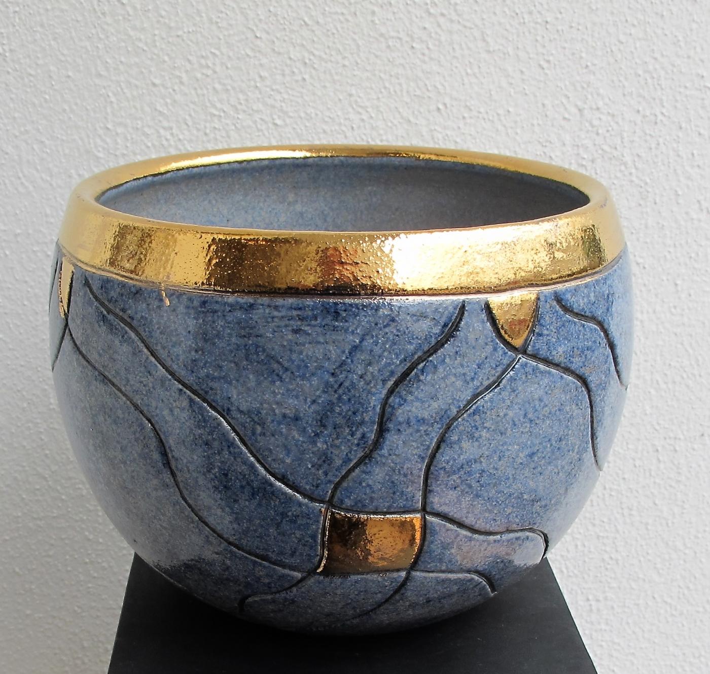 buttet krukke m. streger og metal | Keramik