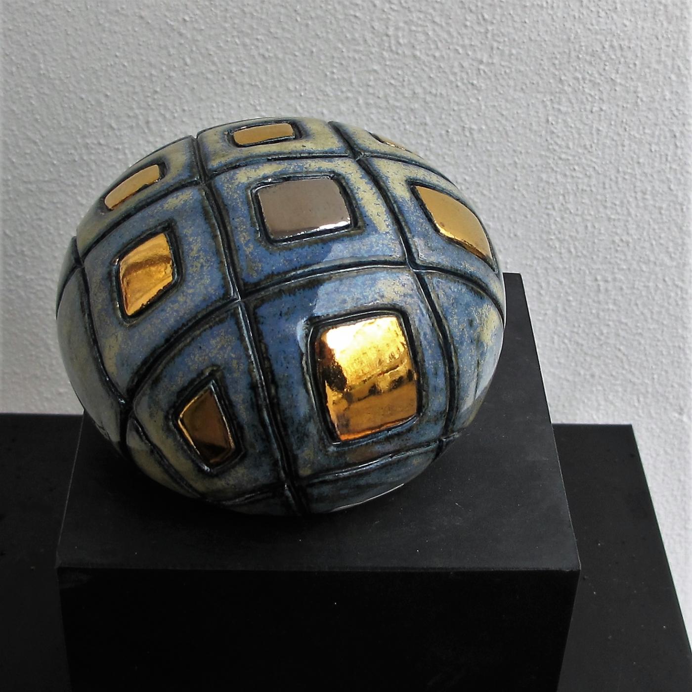 lille gobbel m. firkanter og metal | Keramik