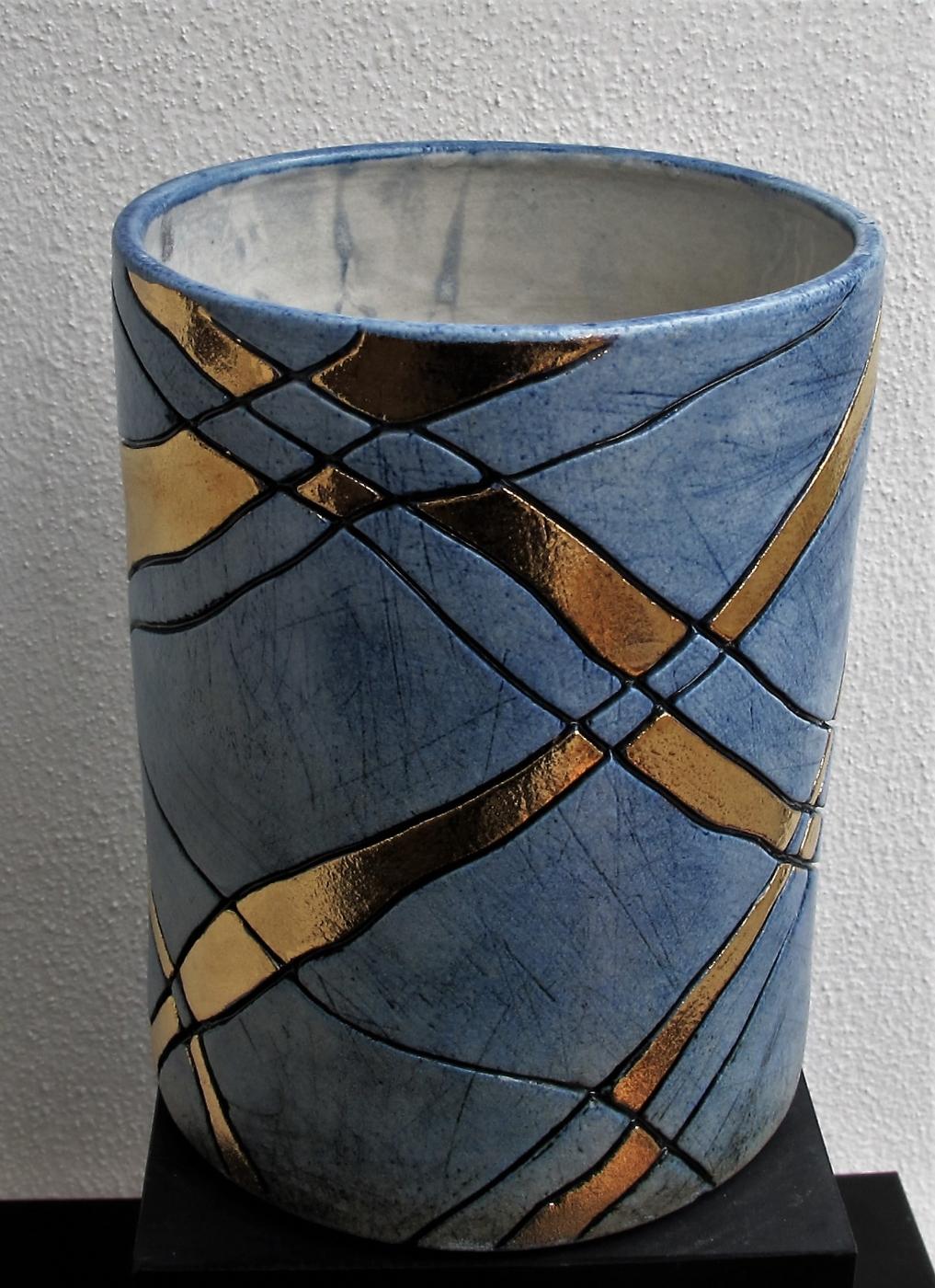 potte mellem m. streger og metal | Keramik