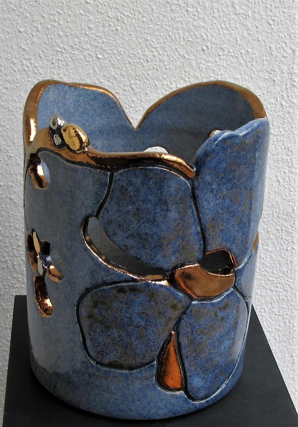 potte lille  til lys m. blomst og metal | Keramik