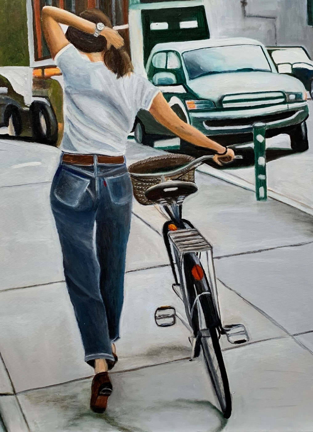 Pigen med cyklen | Maleri