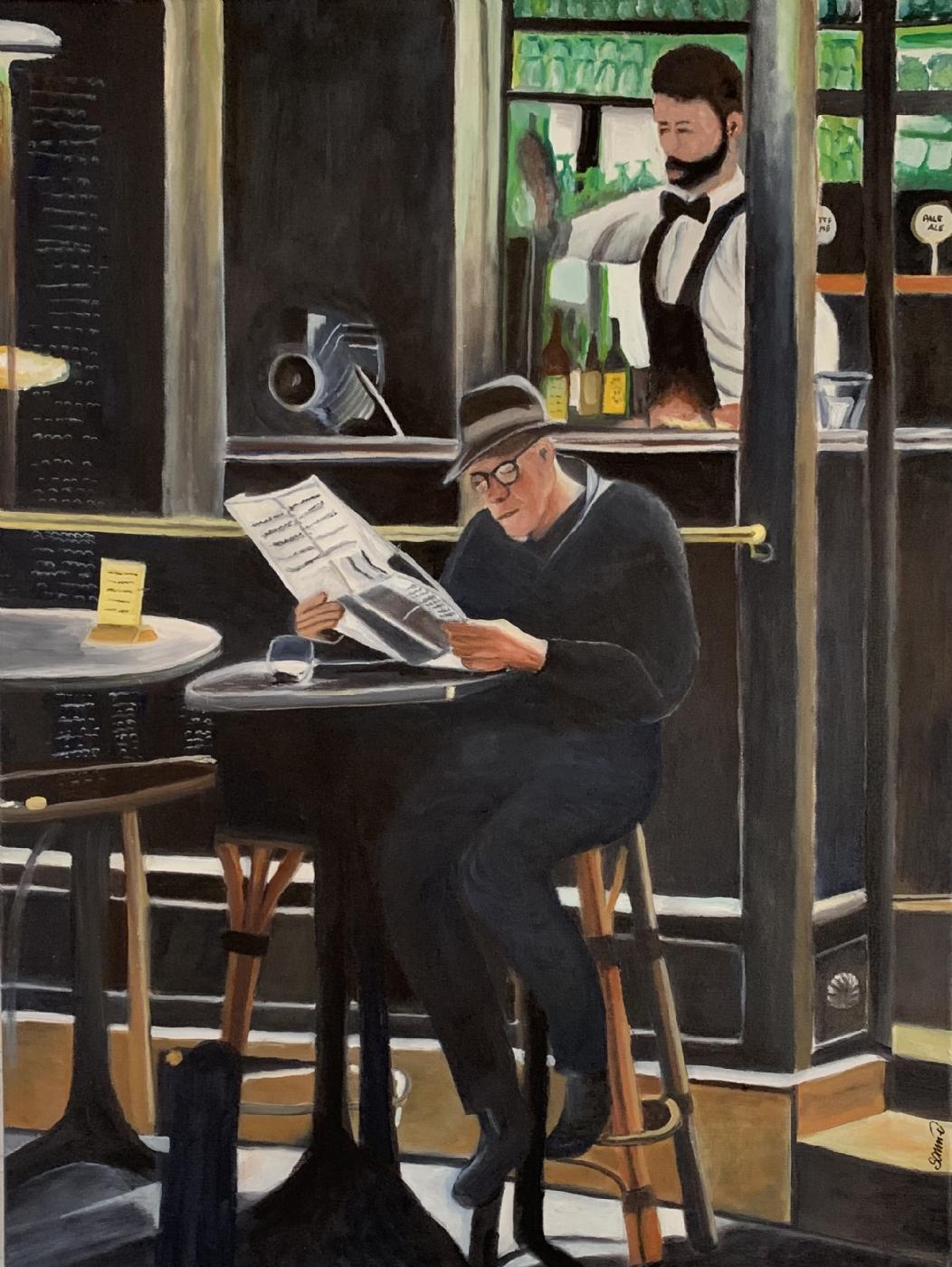Avislæsning i baren | Maleri