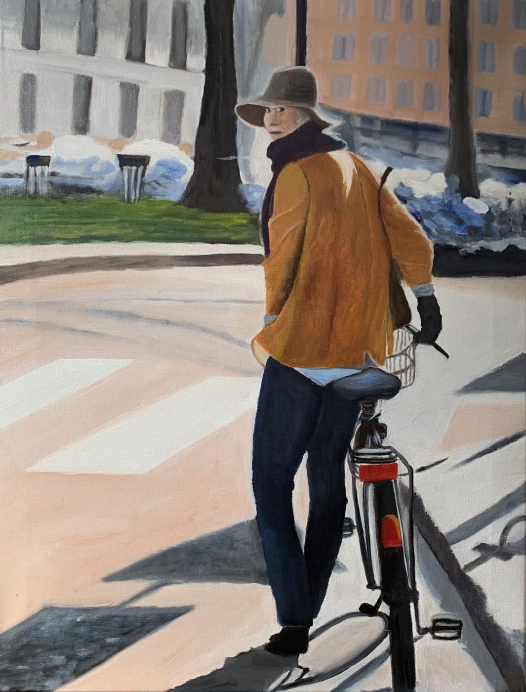 pigen med cyklen IV | Maleri