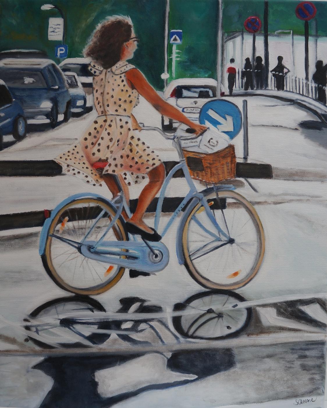 Pigen på den blå cykel   Maleri