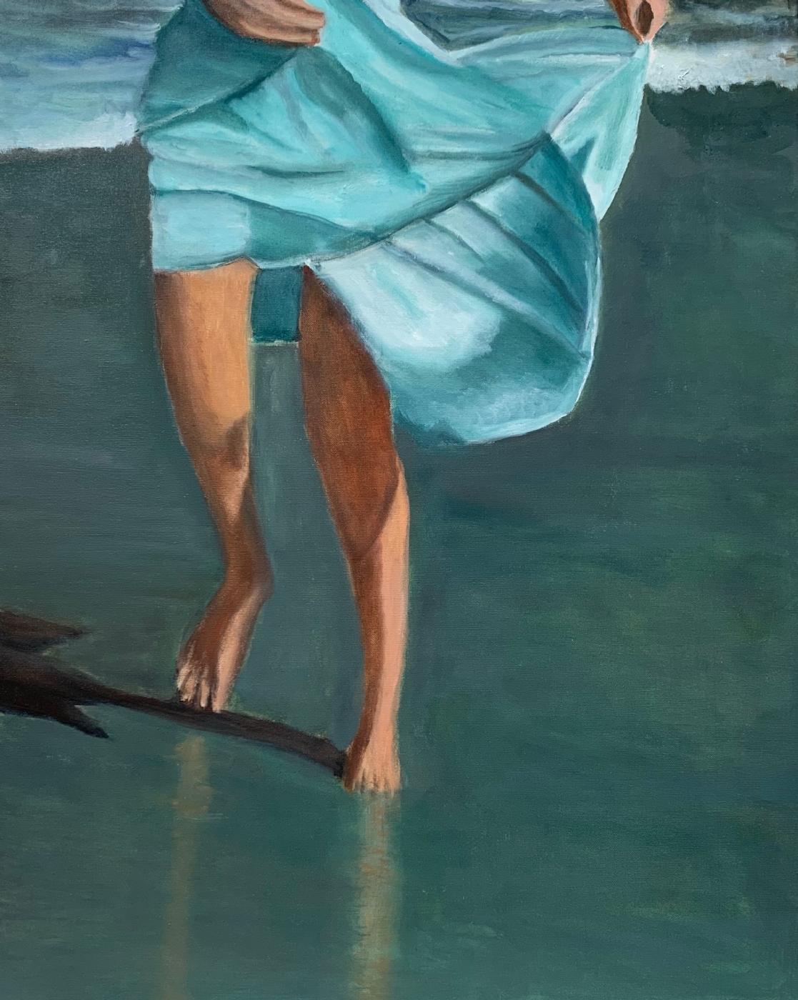 Pige på strand I | Maleri