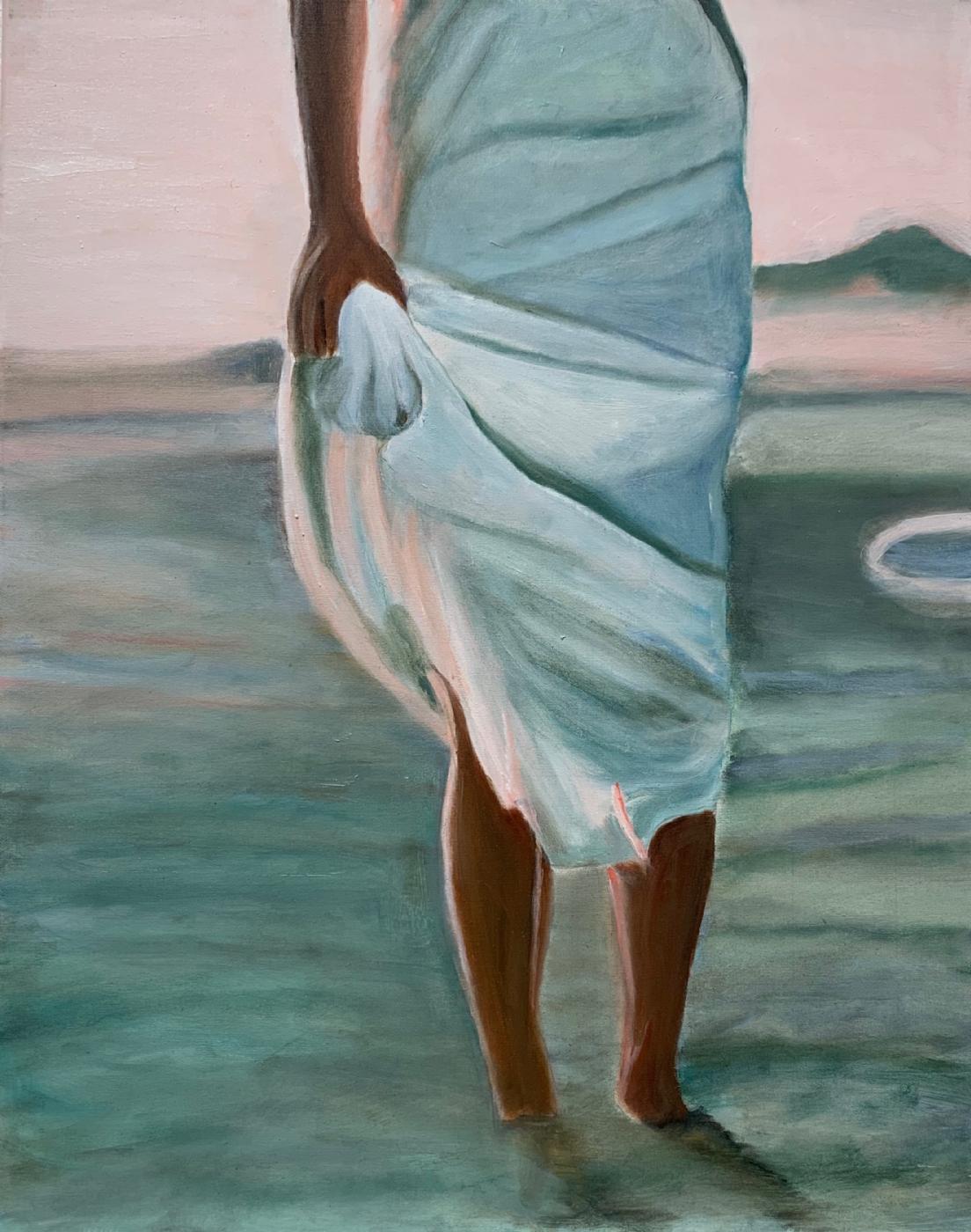 Pige på strand III | Maleri