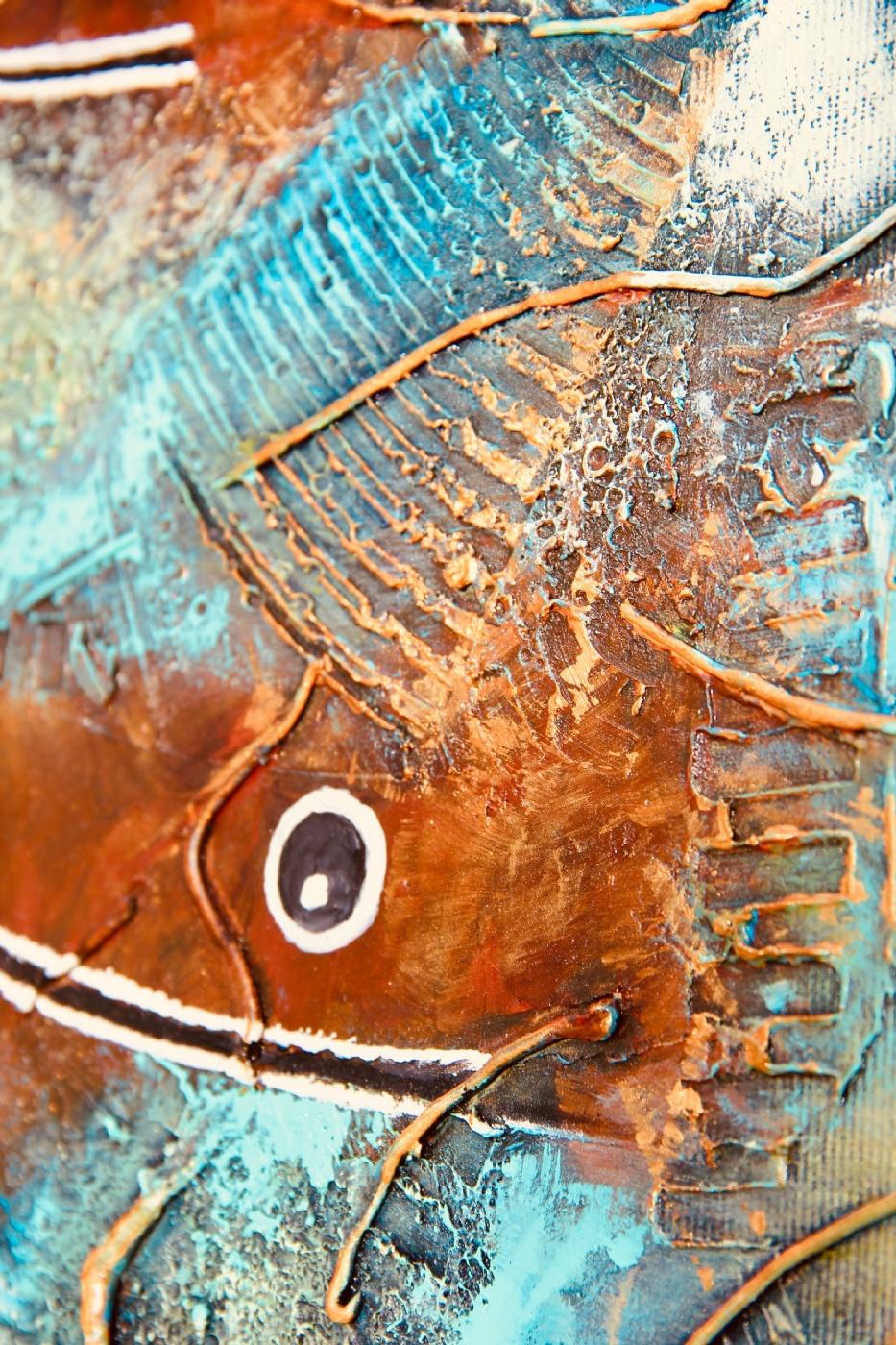 3 diving fish | Maleri | Detail 1