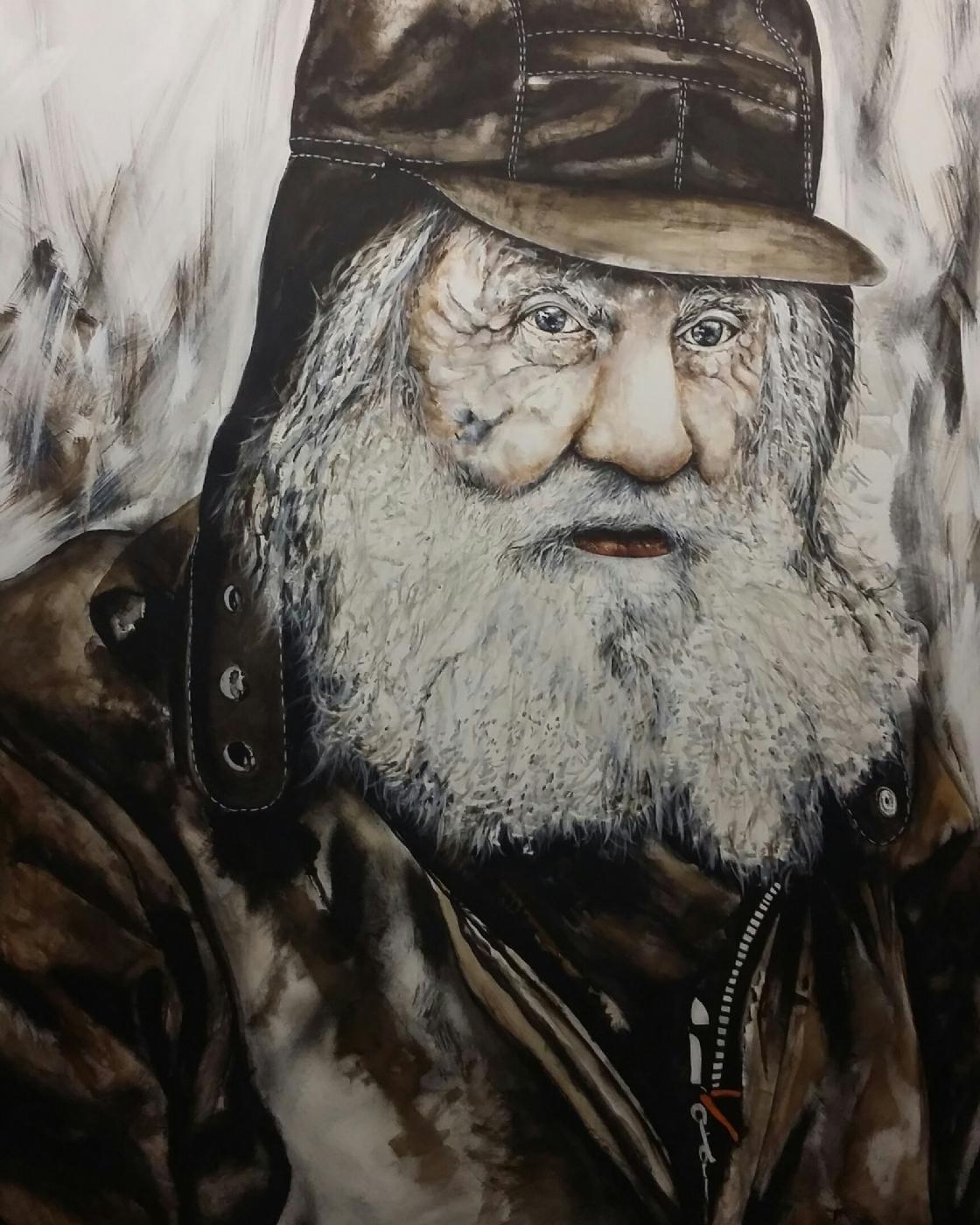Hardy, portræt af en hjemløs.  | Maleri