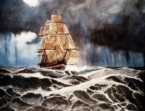 Skib i uvejr | Tegning