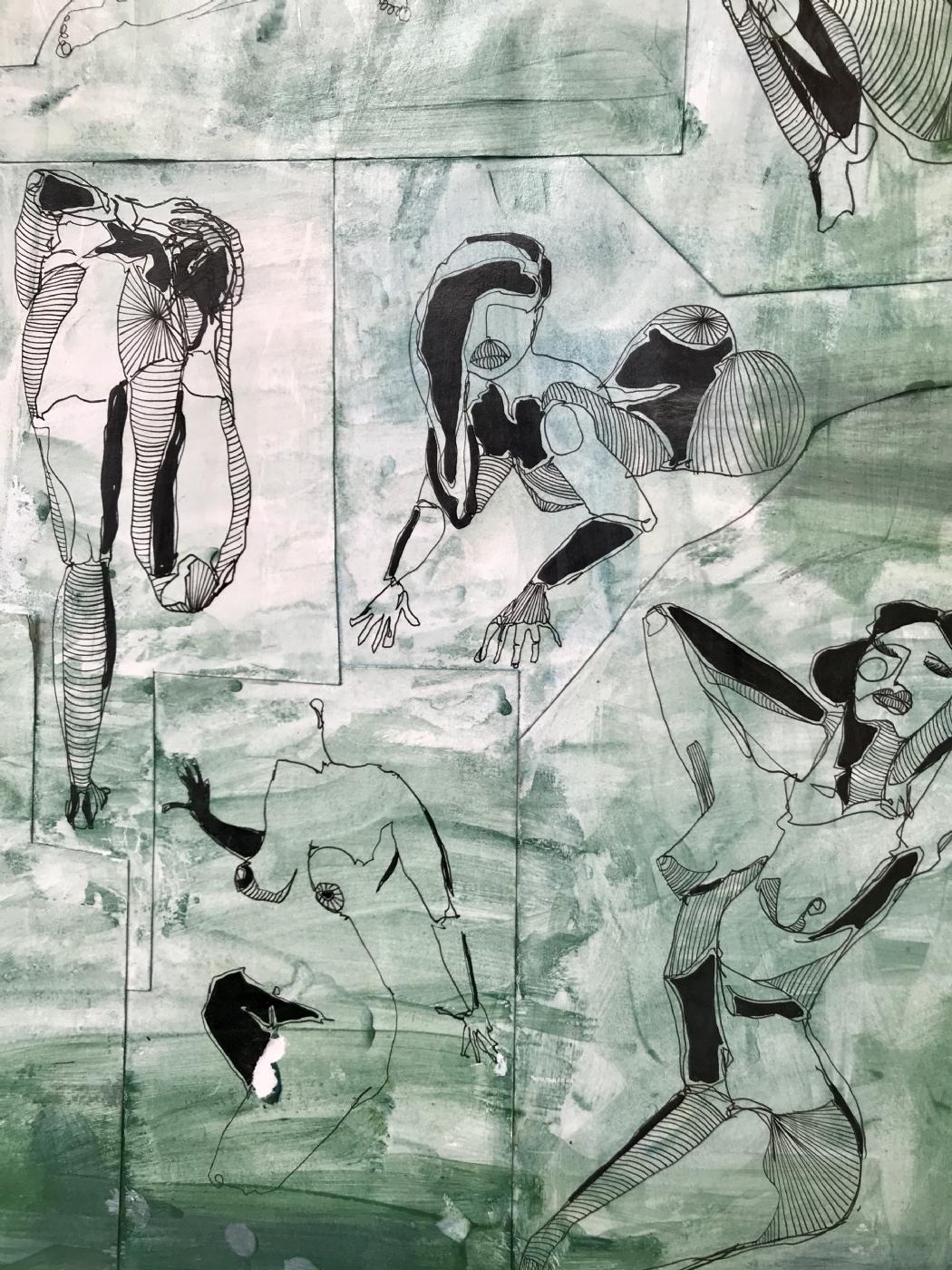 Kvinder i grønt   Tegning   Detail 1