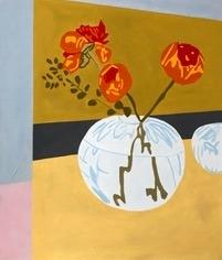 Blomst i rund vase | Maleri