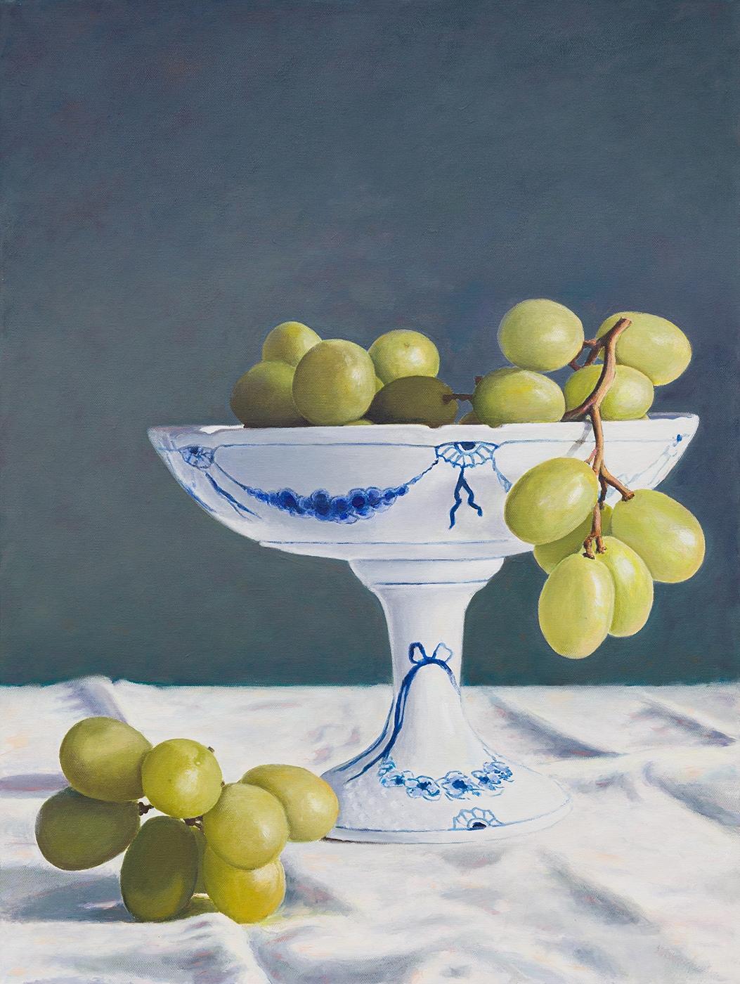 Green grapes in Royal Copenhagen | Maleri