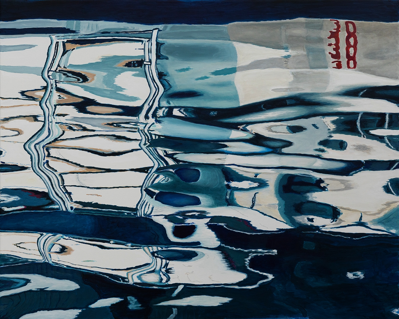Water reflections of the white boat | Maleri