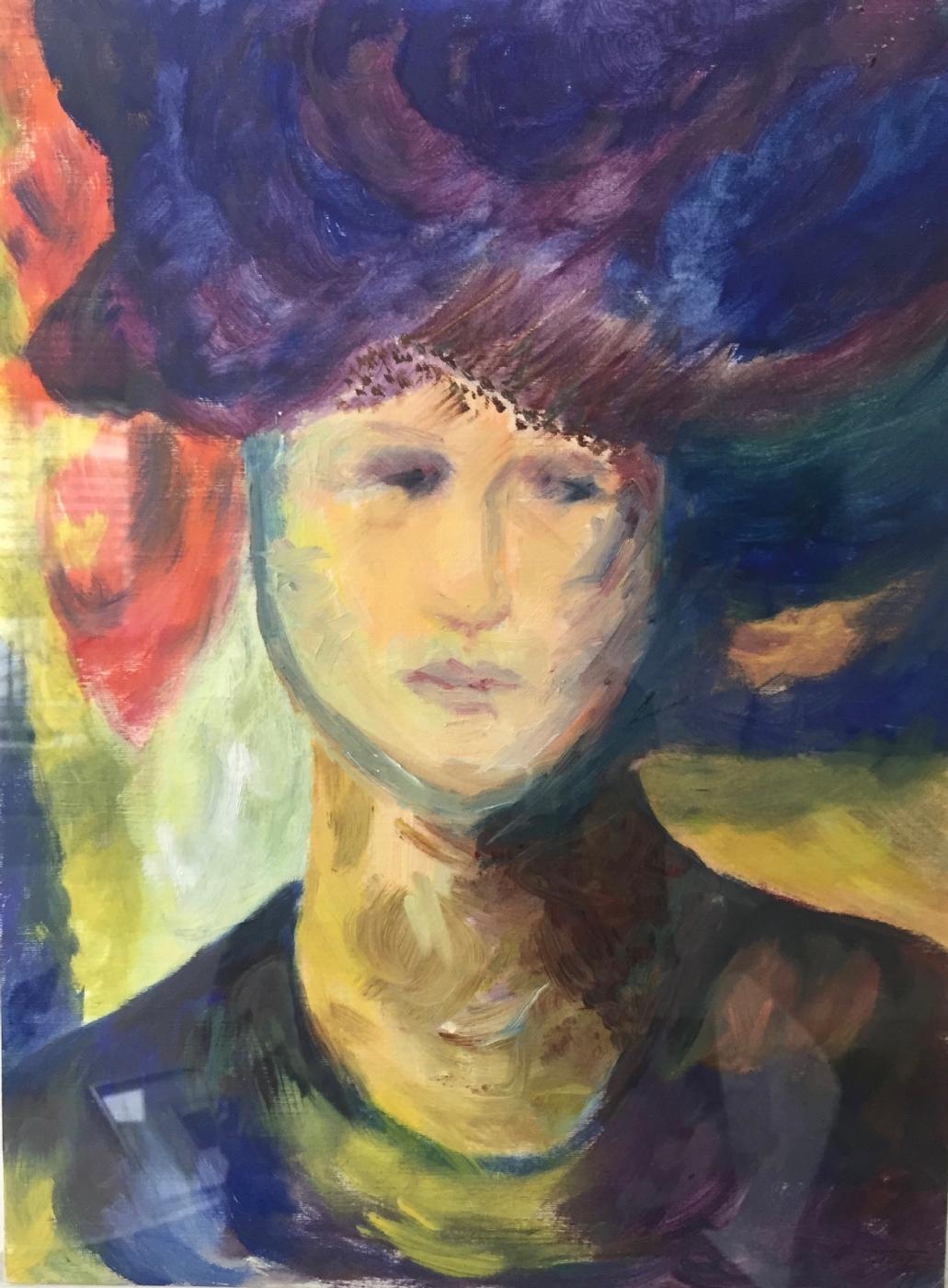 Dame med hat | Maleri