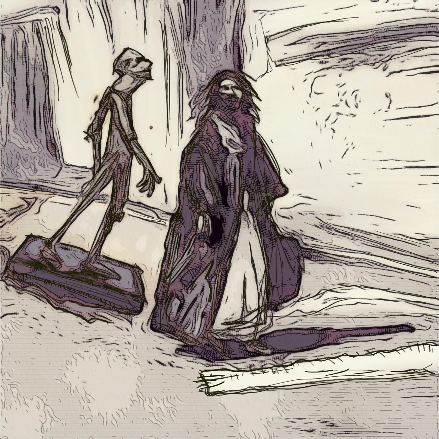 Far og søn   Tegning   Detail 1