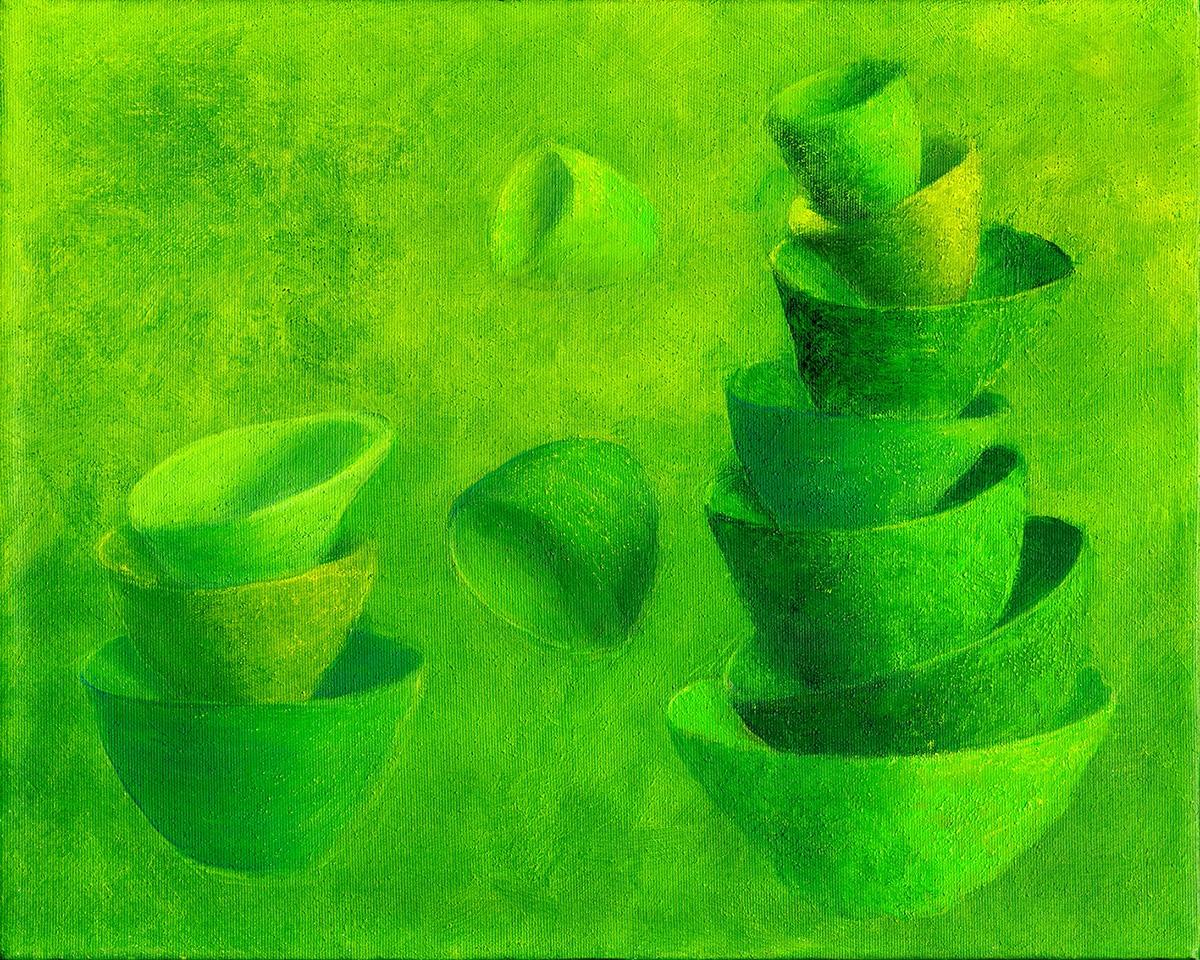 Balance, grøn   (Balance, green) | Maleri