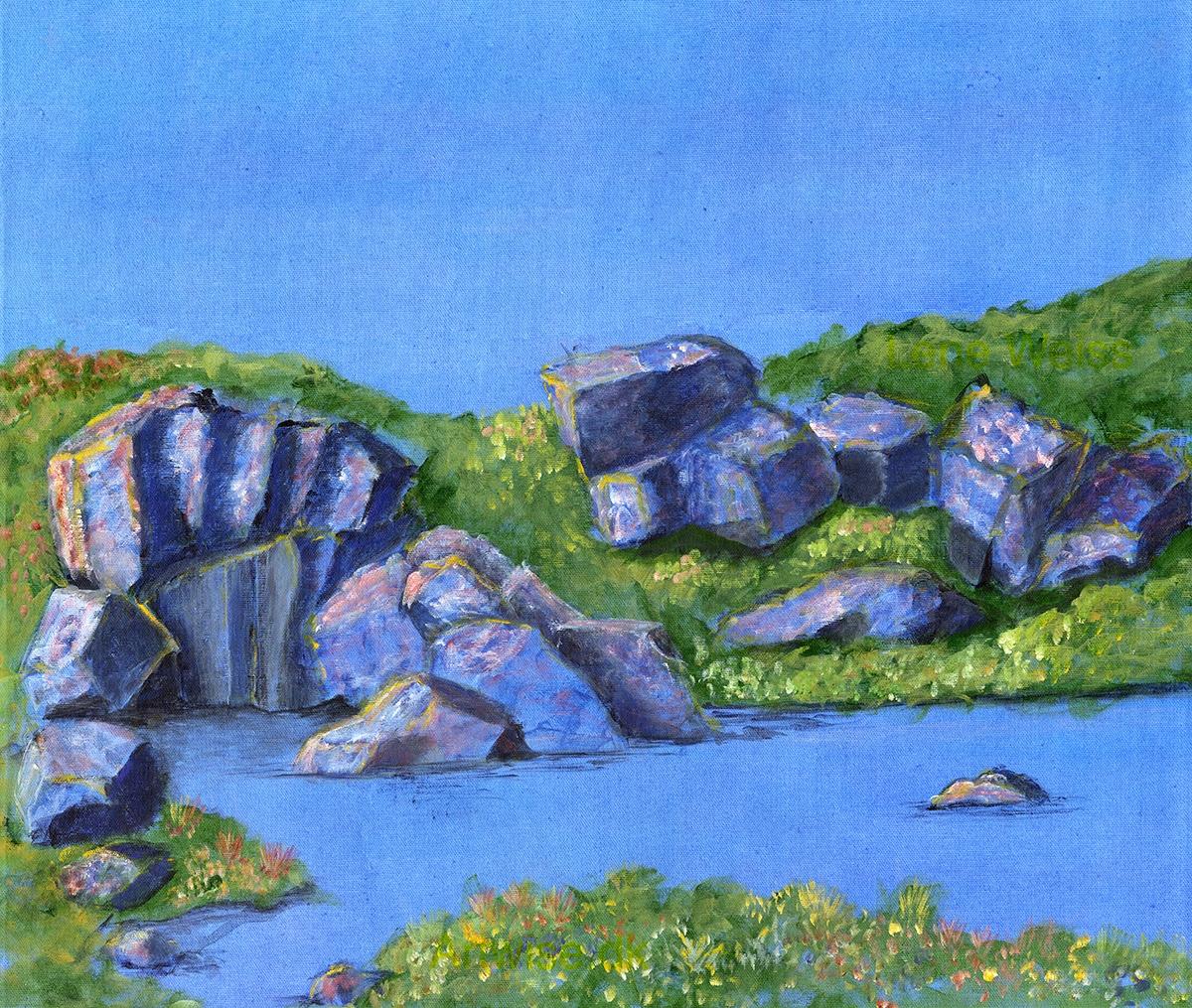 Blå omfavnelse (Blue embracement) | Maleri