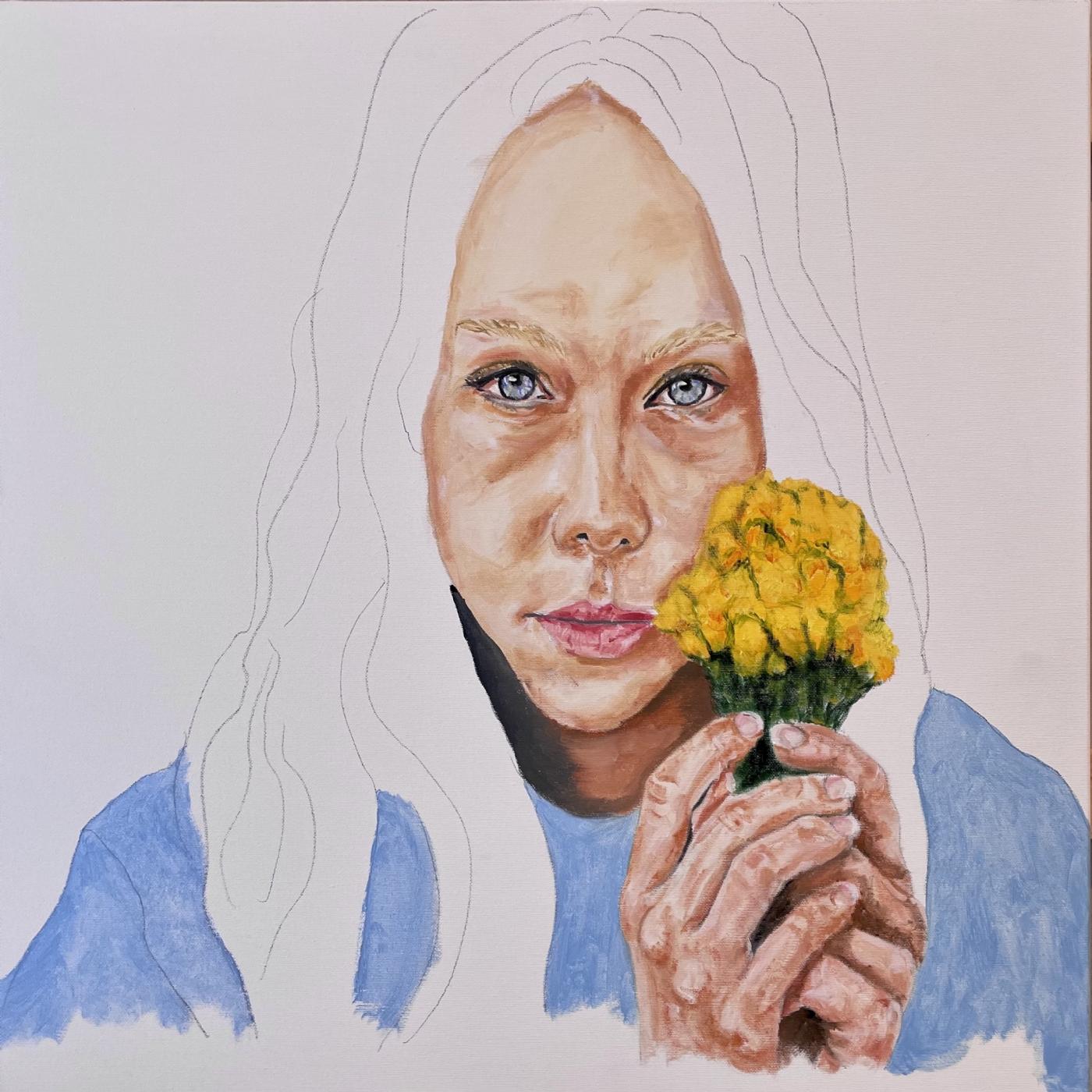 Pigen med blomsterne - Unfinished   Maleri