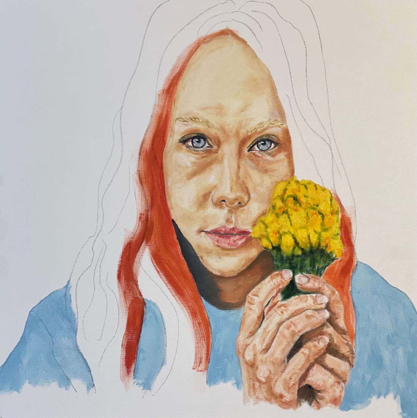 Pigen med blomsterne | Maleri