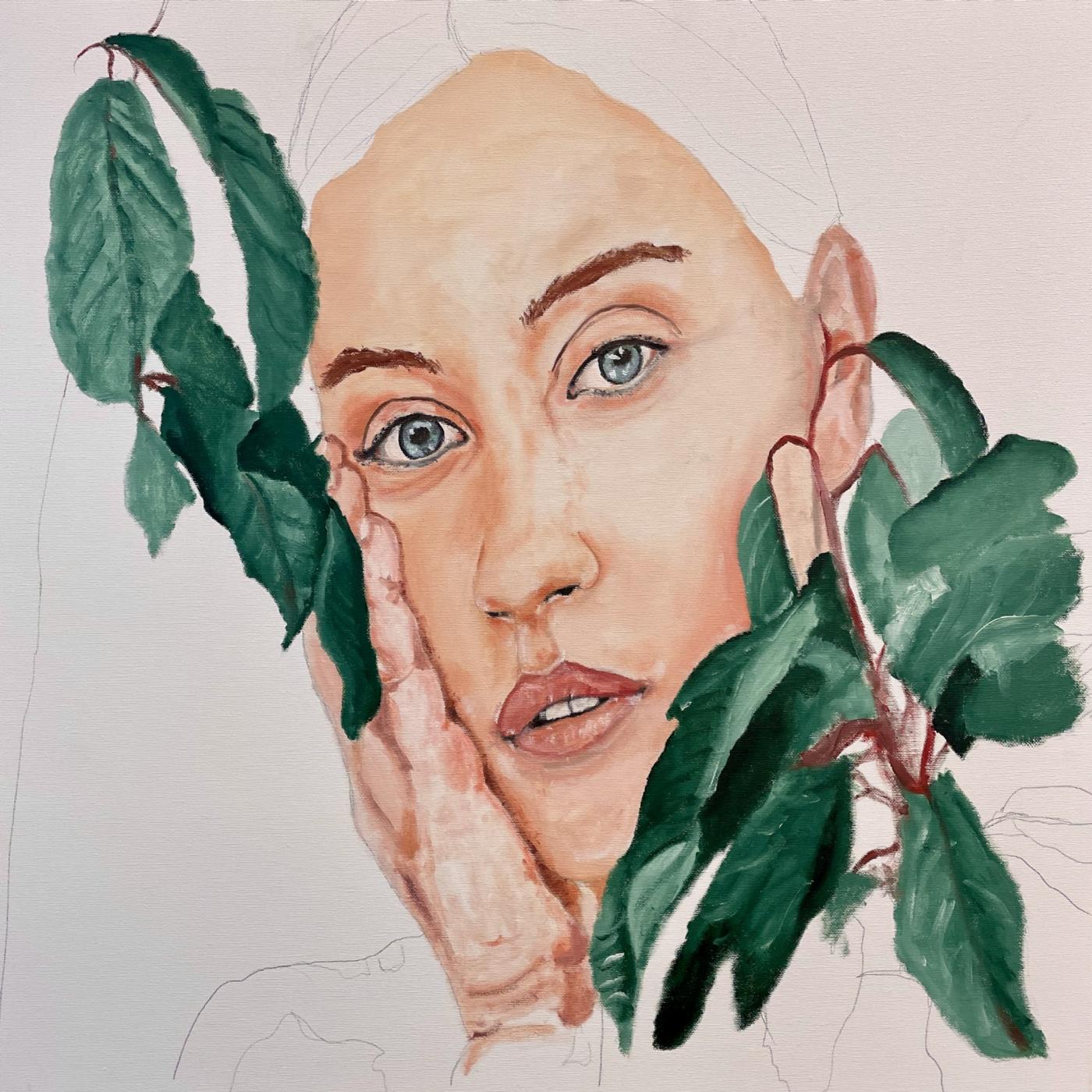 Pigen i busken | Maleri