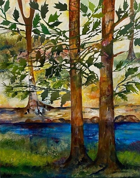 Skovbryn med grønne blade | Maleri