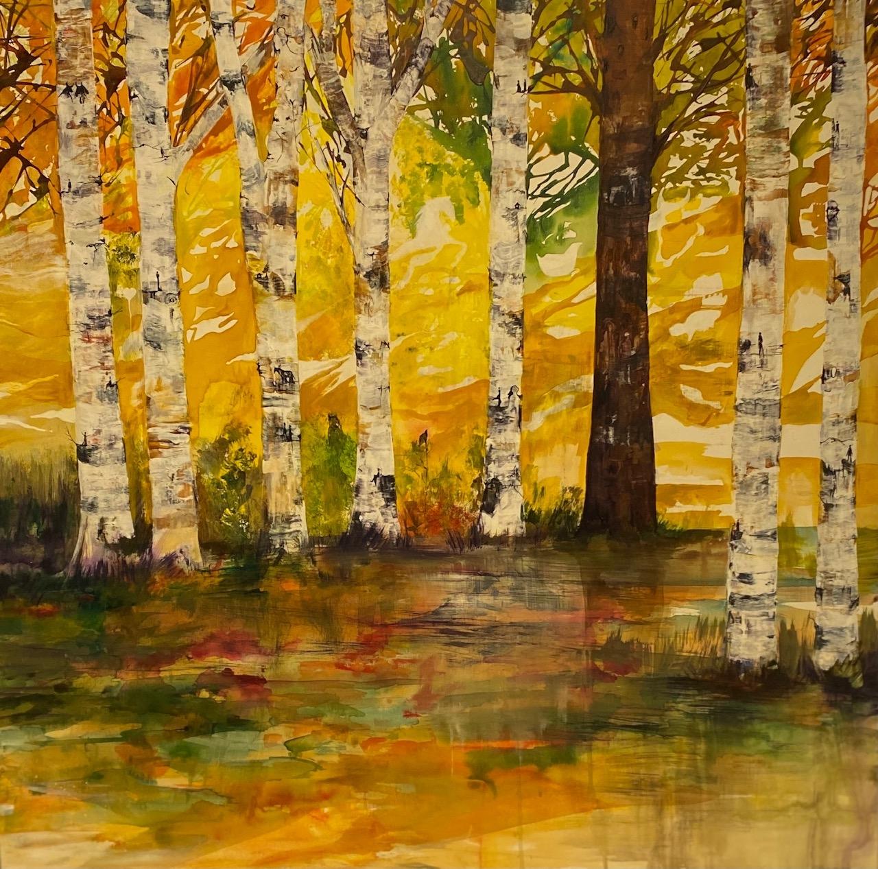 Birkeskov i efterårsfarver | Maleri